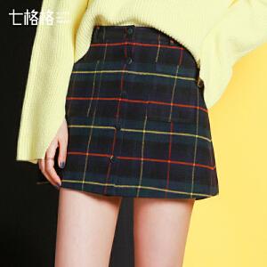 【9.21超级品牌日】七格格2017新款 格纹纽扣口袋设计A字半身裙短裙女