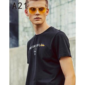 以纯线上品牌a21 2017夏装新款短袖T恤男简约纯棉圆领短袖上衣