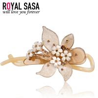 皇家莎莎Royalsasa头饰韩版流行时尚款亚克力人造水晶扭夹发夹发饰-玫瑰花语