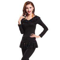 广场舞服装套 装新款秋装 成人长袖舞蹈演出服装拉丁舞裙长袖裙子套装