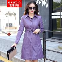 逸纯印品(EASZin)女式短款皮衣 女士2016秋冬新款压花机车韩版修身皮夹克外套