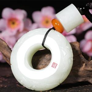 侯晓峰玉雕 新疆天然和田玉扳指车挂大师手玩件福寿如意110克