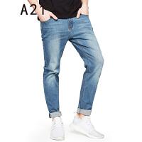 以纯线上品牌a21 2017夏装新款修身牛仔裤男小脚百搭低腰牛仔长裤 32(185/80A)
