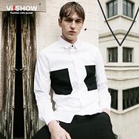 viishow春装新款长袖衬衫 欧美时尚拼色白衬衫男 修身衬衣潮