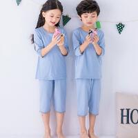 儿童睡衣纯棉短袖夏季男童女童宝宝家居服套装七分袖空调服全棉