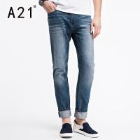 以纯A21牛仔裤男薄款 夏季男士裤子直筒休闲长裤纯棉青年男裤男装