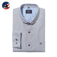 优鲨2017新款男长袖衬衫商务条纹男衬衫小领带钻扣休闲衬衫