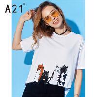 以纯线上品牌a21 新款夏季女装上衣猫咪印花t恤女宽松不规则个性白色短袖t恤女