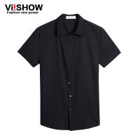 viishow夏装新款黑色短袖衬衫 男式休闲短袖衬衣特色衣襟衬衣