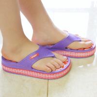 普润 女式居家高跟防滑按摩拖鞋 人字拖鞋 夏季休闲凉拖鞋 (红底紫边) 37码AB101-2