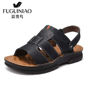 富贵鸟(FUGUINIAO)凉鞋17年夏款头层牛皮舒适灵活两用后跟带男鞋沙滩鞋
