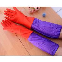 耀点100 加长款加绒保暖胶橡胶皮手套颜色随机L码