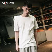 viishow夏装新款短袖T恤 欧美简约款式短袖男 纯棉白色百搭T