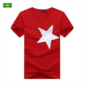 逸纯印品(EASZin)短袖t恤男 夏季韩版短袖T恤个性前后五角星印花男士大码加肥T恤衫潮