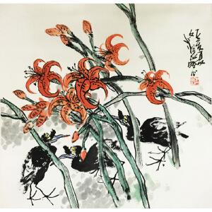 江文谌《花鸟》著名画家