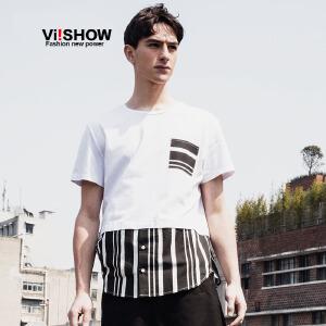 viishow夏装新款短袖t恤 欧美街头潮流短袖男 纯色拼接条纹t