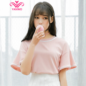 演沃 纯棉松短袖T恤 女 2017夏装