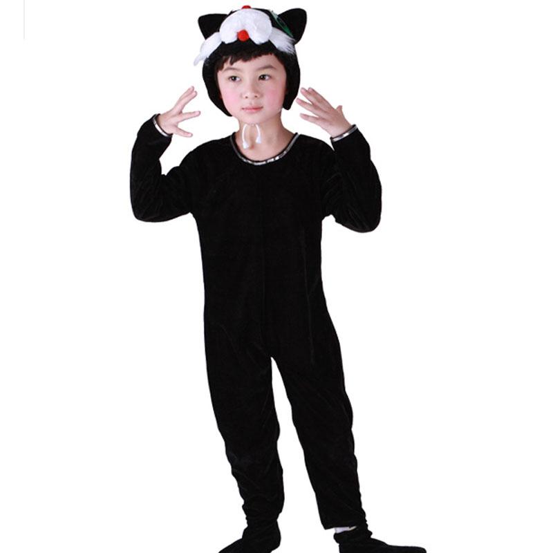宝宝表演衣服儿童演出服黑猫女冬跳舞蹈衣小猫咪动物服装套装男春秋季