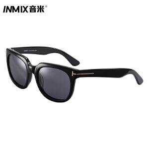 inmix音米时尚偏光太阳镜男女款潮金属装饰板材圆框反光墨镜 5049