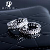 【茱蒂的花园】新款轻奢满钻白金戒指电镀真金A级合成锆石简约百搭女士时尚指环指套女生女式女款送女友礼物