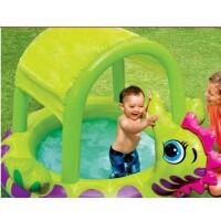 满百包邮INTEX57110充气游泳池圆形遮阳戏水池 婴儿浴盆沙池海洋球池