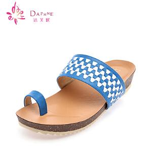 达芙妮夏季女鞋 百搭休闲时尚女士凉鞋夏天鞋子平跟女凉拖鞋