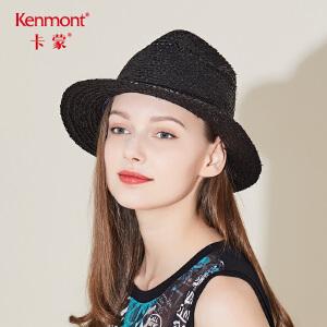 卡蒙拉菲草帽女夏小清新英伦沙滩帽韩版复古凉帽海边太阳帽遮阳帽3318