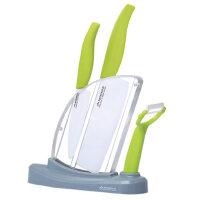 美帝亚陶瓷刀套装 厨房刀具四件套6寸中式菜刀水果刀刨刀刀架