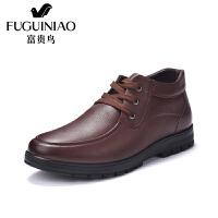 富贵鸟高帮鞋 新款冬季男休闲皮鞋加绒保暖棉鞋男鞋皮鞋子