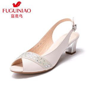 富贵鸟2017夏季新品时尚水钻女鞋浅口女凉鞋中跟粗跟鱼嘴鞋子