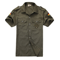 自由骑士户外德军绿色战术衬衫 男装纯棉军迷短袖衬衣 8012