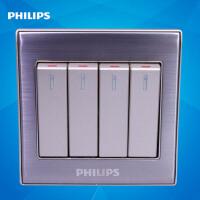 飞利浦墙壁开关插座面板86型金属系列Q8 214四位按键四开单极开关