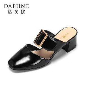 vivifleurs2017春方跟女鞋 简约方头皮带扣粗跟高跟鞋1017102705