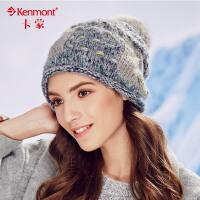冬季帽子女韩版潮毛线帽混色编织帽冬天时尚女士提花针织帽堆堆帽1709
