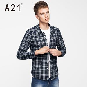 以纯A21男装修身格子印花长袖衬衫 2017春装新款时尚百搭学院男士衬衣