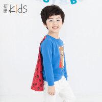 初语童装儿童卫衣2016春装新款加绒长袖休闲卡通男童卫衣