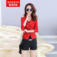 EASZin逸纯印品 女士仿真皮皮衣 2017春季上新韩版修身皮夹克外套 机车 毛领  加棉