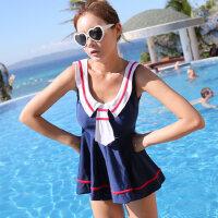 2016新款时尚泳衣女   时尚学生范分体平角女士泳衣