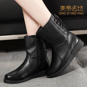 东帝名坊新款中筒靴女靴 头层牛皮真皮时尚马丁靴子 厚底加绒女英伦短靴保暖靴子32700