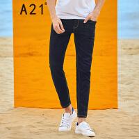 以纯线上品牌a21 2017夏装新款牛仔裤男修身小脚青年休闲裤弹力长裤