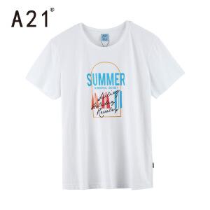 以纯线上品牌a21 白色内搭打底衫男潮流纯棉t恤男修短袖圆领 男士夏季新款2017
