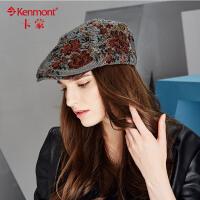 冬季帽子女时尚毛呢鸭舌帽女士帽子韩版潮冬天前进帽织花贝雷帽2409