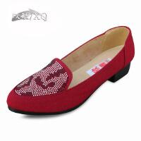 欣清2016老北京布鞋女鞋女单鞋春季新款休闲带钻坡跟浅口女款帆布鞋女