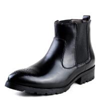 2015秋冬季男士马丁靴男真皮时尚布洛克雕花工装男靴增高皮靴军靴  时尚演出潮靴子
