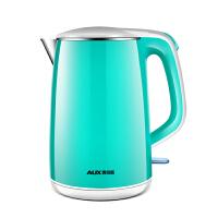 AUX/奥克斯青色电热水壶家用开水烧水壶电水壶304不锈钢防烫双层保温温水壶