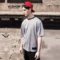 viishow夏装新款短袖t恤 欧美街头短袖男 竖条纹字母棒球t恤