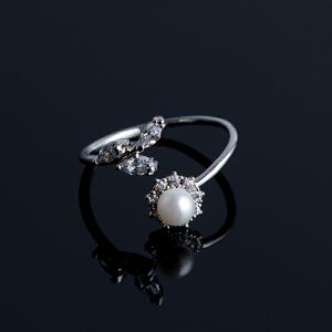【茱蒂的花园】橄榄幸运花珍珠镶钻简约百搭女士时尚开口戒指尾戒均码可调节活口戒指指环指套女生女式女款