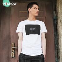 viishow夏装新款短袖T恤 欧美简约短袖男 字母印花白色t恤