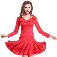 广场舞服装  套装新款秋装 成人长袖舞蹈演出服装拉丁舞裙长袖裙子套装