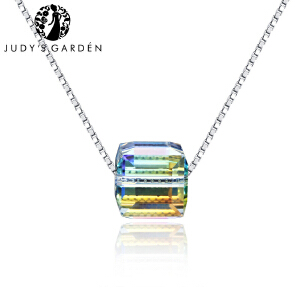 【茱蒂的花园】夏季新品彩虹仿水晶元素方糖S925银项链锁骨链颈链吊坠女款女式送女友生日礼物纯